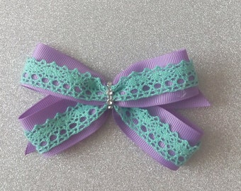 Mermaid Bow / Purple and turquoise bow