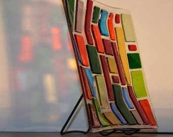 Fused Glass Art Plate, unique multicolor, transparent design, Decorative and hand made