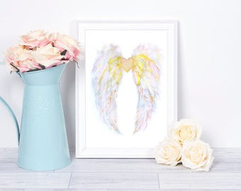 Angel Wings Wall Decor, Feather Art, Angel Wings, Fashion Illustration