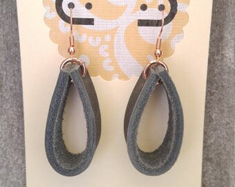 Stormy Blue Grey Leather and Copper Hoop Earrings
