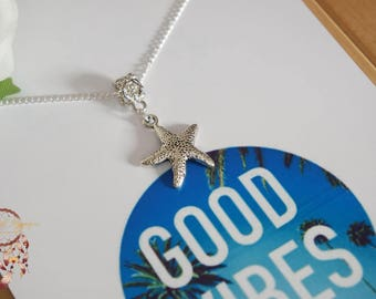 Silver starfish necklace | beach necklace, starfish, sea necklace, minimalist, jewelry card, necklace card, bohemian, boho, ocean, beach