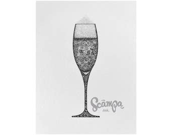 Original hand drawn, ink print illustration of a beautifully detailed glass of Champagne. Framed