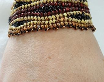 womans bracelet, Glass beaded bracelet, boho bracelet, Brown beaded bracelet,  handcrafted bracelet, Friendship bracelet, gift for her