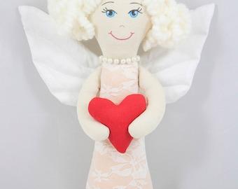 Fabric angel toy, Handmade angel doll, Stuffed angel doll