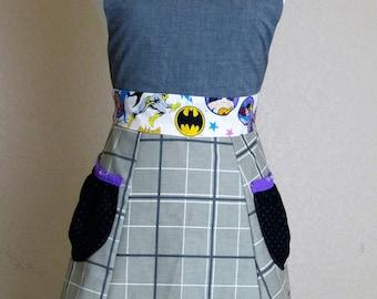 Batgirl Apron, Women's superhero full apron - Laneymade