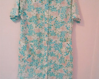 Vintage 70's JCPenny Womens Floral Buttoned Robe Tunic Mumu kinda