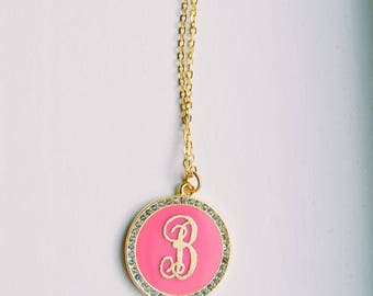 Pink And Gold Monogram Necklace