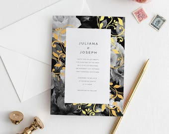 Gold Botanical Wedding Invitation Suite Deposit - Romantic Rose Invite with Gold Foil Detail Invites