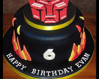 "Edible transformer cake topper on a 6"" board"