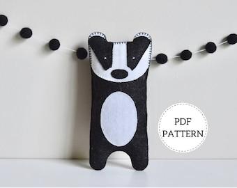 Badger Softie Pattern | PDF Download | Wool Felt Toy