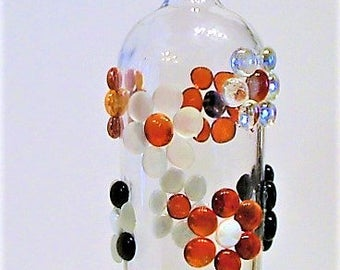 Bottle vase,table center peace, flowered glass round tiles