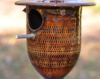 Clay Birdhouse, pottery birdhouse, ceramic birdhouse, wedding gift, birdhouse, wrens, titmice,nuthatches, chickadees, garden art -The Briars