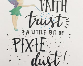 Handlettering and Watercolor Tinkerbell