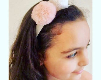 Double white and pink Pom Pom elasticated Head band