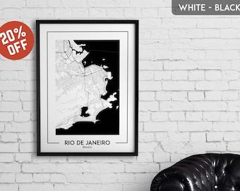 RIO DE JANEIRO map print, Rio de Janeiro poster, Rio de Janeiro wall art, Rio de Janeiro city map, Rio de Janeiro map decor