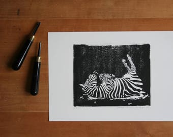 Handprinted linocut zebra, linoleum print, lino print, wall art, block print, graphic art, handmade gift, housewarming gift, home decoration
