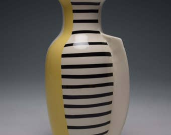 Pastel Yellow // Black Stripes Vase