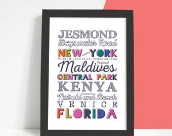 A4 Personalised Destination Print, Home Decor, Holidays, Places, Present, Gift, Colourful, Holiday List, Typographic Print, Memories