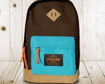 Unisex Backpack - Chocolate / Cyan