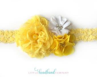 Yellow Baby Headband • Flower headband • adult headband • wedding headband • flower girl • hair accessories for girls • baby accessories