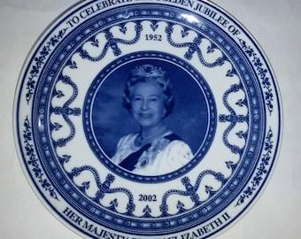 Wedgewood Blue and White Commemorative Decrorate Queen Elizabeth II & Queen Mother Plates
