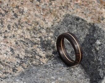 Wenge Wood and Veneer Wood Ring, Natural Wood Ring, Mens Wood Ring, Womens Wood Ring, Wood Jewelry
