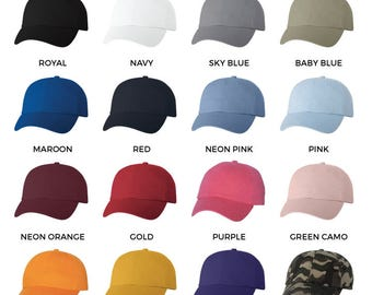 12 Custom Dad Hats Your Logo Design Cap Strapback Embroidered Personalized Brand Up To 2 Color Embroidery