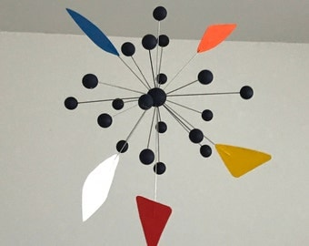 Hand-painted Alexander Calder Inspired Mid-Century Modern Abstract Wood/Metal Mobile Sculpture #1