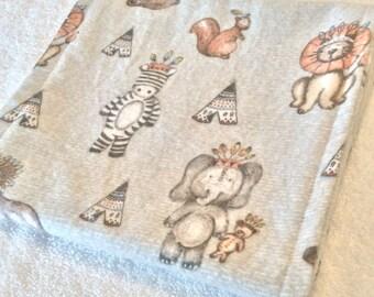 Baby Burp Cloth, Tribal Animal, Baby Gift, Baby Shower, Baby Boy, Baby Girl, Flannelette