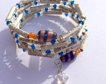 White and Blue Sense and Sensibility Book Bead Bracelet