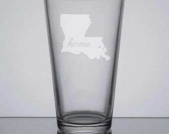 Louisiana Pint Glass, Custom Etched Glass, Gift Idea, Home State, Engraved Pint Glass, Sandblasted Glass, New Orleans, Baton Rouge