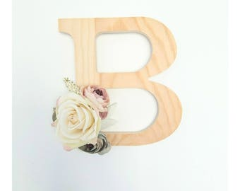 Floral letter, Large Wooden Letter, Babyshower Gift, Party Decor, Girl Nursery, Wedding Arrangement, Personalised Gift, Baby Gift