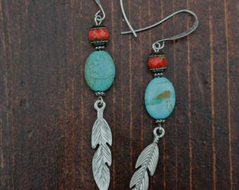 Feather and Stone Earrings