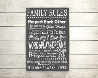 Family Rules, Canvas Art, Canvas Wall Hanging, Family plaque, Quote Art, Quotes On Canvas, Word Art, Home Décor, Signs For Home