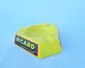 Ashtray RICARD FRANCE yellow triangular opalex 1970