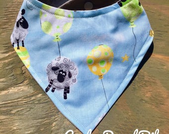Baby Bandana Bib, Cool 2 Drool Bib, Baby / Toddler Bandana Bib, Drool Bib, Stylish, Gender Neutral, Balloons and Floating Sheep, Birthday