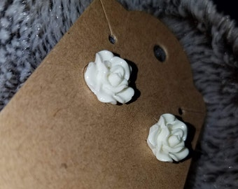 Small white rose earings