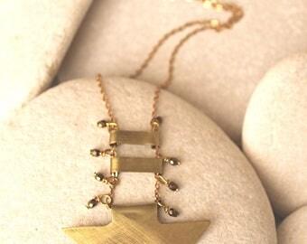 Down arrow necklace, Brass arrow point pendant, Czech glass necklace, Unique necklace, Artisan jewelry