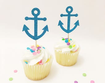 Nautical Cupcake Toppers Anchor Cupcake Topper, Sailor Boat, Birthday, Ahoy Set Sail Cupcake Topper anchor sign Party Decoration Baby Shower