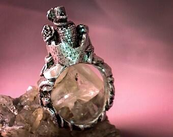 Unique castle ring 990 silver ~26 gramm