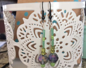 Dangling Earrings with Purple and Green Iridescent Crystal Beads