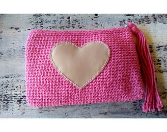 Hand/cosmetic case pink heart bag