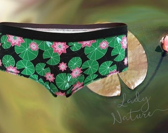 Organic Cotton Jersey - Lilypad Dragonfly Print - ORGANICKERS -Underwear, Knickers, Panties - Handmade in UK  England