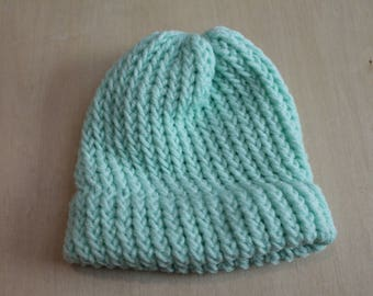 Seafoam preemie/newborn knit cap