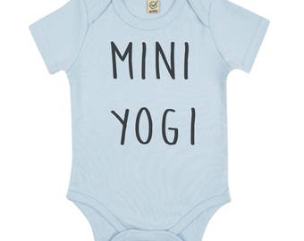 Mini Yogi bodysuit - blue organic cotton