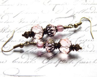 Pink Crystal Earrings - Czech Halo Cherub Earrings - Victorian Style Earrings - Vintage Style Earrings