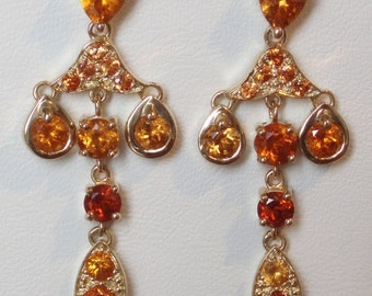Earrings dangling yellow gold and Spessartite (Garnet) / Yellow gold and Spessartite Garnet Chandelier Earrings