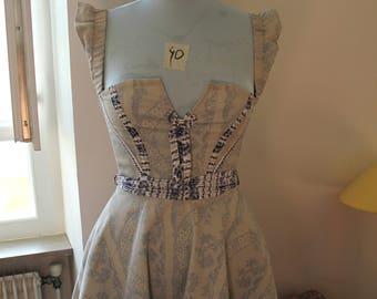Strapless short dress in denim stretch