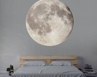 Moon Wall Decal, Space Wall Decal, Nursery Wall Decal, Interior Moon Wall Art Mural, Moon Vinyl Wall Decal Art Sticker