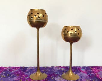 Brass Candle Holder   Made in India   Brass Candlestick Holders   Mid Century Bass   Boho Home Decor